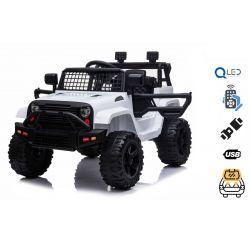 Autko elektryczne OFFROAD z napędem na tylne koła, białe, akumulator 12 V, wysokie podwozie, szerokie siedzenie, amortyzowane osie, pilot 2,4 GHz, odtwarzacz MP3 z wejściem USB / SD, światła LED
