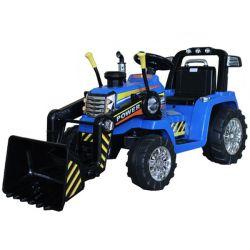 Elektrický Traktor MASTER s naberačkou, modrý, Pohon zadných kolies, 12V batéria, Plastové kolesá, 2 X 35W Motor, široké sedadlo, 2,4 GHz Diaľkový ovládač, Jednomiestne, MP3 prehrávač so vstupom Aux