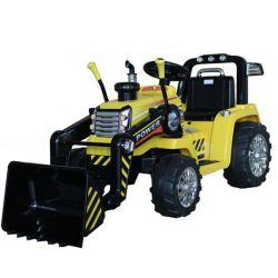 Ciągnik elektryczny MASTER z kadzią, żółty, napęd na tylne koła, akumulator 12 V, plastikowe koła, silnik 2 x 35 W, szerokie siedzenie, pilot 2,4 GHz, pojedynczy, odtwarzacz MP3 z wejściem Aux