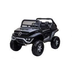 Elektryczne Autko Mercedes Unimog, Czarny, 4 x 4, 12 V/14 Ah, Koła EVA, Szeroki Fotel 2-osobowy, Pilot 2,4 GHz, 4 x SILNIK, SB, Bluetooth