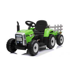 Elektrický Traktor WORKERS s vlečkou, zelený, Pohon zadných kolies, 12V batéria, EVA kolesá, široké kožené sedadlo, 2,4 GHz Diaľkový ovládač, Jednomiestne, MP3 prehrávač so vstupom USB/SD, LED Svetlá