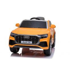 Elektryczne autko Audi Q8, pomarańczowe, oryginalna licencja, skórzane siedzenie, otwieranie drzwi, silnik 2x 25W, akumulator 12 V, pilot 2,4 Ghz, miękkie koła EVA, światła LED, miękki start