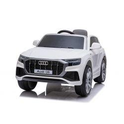 Elektryczne autko Audi Q8, białe, oryginalna licencja, skórzane siedzenie, otwieranie drzwi, silnik 2x 25W, akumulator 12 V, pilot 2,4 Ghz, miękkie koła EVA, światła LED, miękki start