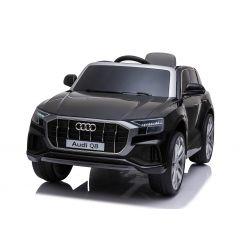Elektryczne autko Audi Q8, czarny, oryginalna licencja, skórzane siedzenie, otwieranie drzwi, silnik 2x 25W, akumulator 12 V, pilot 2,4 Ghz, miękkie koła EVA, światła LED, miękki start