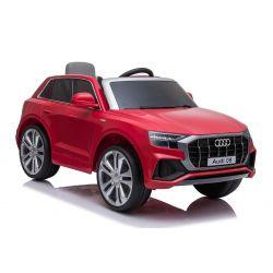 Elektryczne autko Audi Q8, czerwone, oryginalna licencja, skórzane siedzenie, otwieranie drzwi, silnik 2x 25W, akumulator 12 V, pilot 2,4 Ghz, miękkie koła EVA, światła LED, miękki start