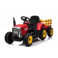 Elektrický Traktor WORKERS s vlečkou, červený, Pohon zadných kolies, 12V batéria, EVA kolesá, široké kožené sedadlo, 2,4 GHz Diaľkový ovládač, Jednomiestne, MP3 prehrávač so vstupom USB/SD, LED Svetlá
