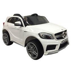 Elektryczne Autko, Mercedes-Benz A45 AMG, Biały Kolor, Licencjonowany, Zasilany Akumulatorem, Otwierane Drzwi, Skóra, 2 x Silnik, Pilot Zdalnego Sterowania 2,4 GHz, Miękkie Koła EVA, Płynny Start, Amortyzacja