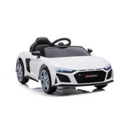 Elektryczny autko Audi R8 Spyder nowy typ, Plastikowe siedzisko, Plastikowe koła, Wejście USB / SD, Akumulator 12V, SILNIK 2 X 25W, Biały, ORYGINALNA licencja