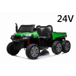 Elektryczny samochód rolniczy RIDER 6X6 24V z napędem na 4 koła 4 X 100W, akumulator 24V/7Ah, koła EVA, osie zawieszenia, pilot 2,4 GHz, dwumiejscowy, odtwarzacz MP3 z wejściem USB / SD, Bluetooth