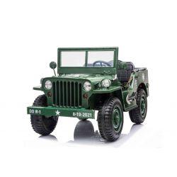 Elektrické autíčko USA ARMY 4X4, Zelené, Trojmiestne, MP3 Prehrávač so vstupom USB/SD, Odpružené náprvy, LED svetlá, Sklápacie čelné sklo, 12V14AH, EVA kolesá, Čalúnené sedadlá, 2,4 GHz Diaľkový ovládač, 4 x 4 Pohon