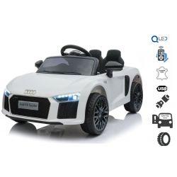 Elektryczne auto Audi R8 Małe, białe, oryginalna licencja, zasilany akumulatorem, otwierane drzwi, silnik 2x 35 W, akumulator 12 V, pilot 2,4 Ghz, miękkie koła EVA, zawieszenie, miękki start