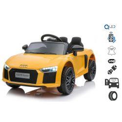 Elektryczne auto Audi R8 Małe, żółte, oryginalna licencja, zasilany akumulatorem, otwierane drzwi, silnik 2x 35 W, akumulator 12 V, pilot 2,4 Ghz, miękkie koła EVA, zawieszenie, miękki start