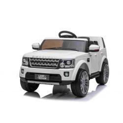 Samochód elektryczny Land Rover Discovery, 12V, pilot 2,4 GHz, wejście USB / AUX, zawieszenie, otwierane drzwi i maska, 2 X 35W SILNIK, biały, licencja ORYGINALNA