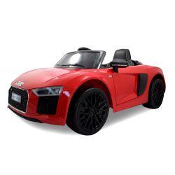 Elektryczne Autko, AUDI R8 Spyder, Czerwony Kolor, Oryginalna Licencja, Zasilane Akumulatorem, Otwierane Drzwi, Skórzane Siedzenie, 2 x Silnik,  Akumulator 12 V, Pilot Zdalnego Sterowania 2,4 Ghz, Koła EVA, Płynny Start