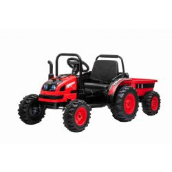 Elektrický Traktor POWER s vlečkou, červený, Pohon zadných kolies, 12V batéria, Plastové kolesá, Odpruženie predných kolies, široké sedadlo, 2,4 GHz Diaľkový ovládač, Jednomiestne, MP3 prehrávač, LED Svetlá