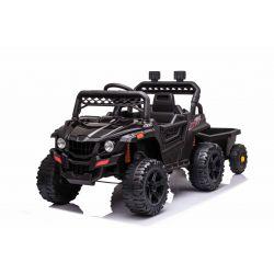 Samochodzik elektryczny RSX mini z bocznicą, czarny, napęd na tylne koła, akumulator 12V, plastikowe koła, szerokie siedzenie, pilot 2,4 GHz, pojedynczy, odtwarzacz MP3 z wejściem USB / SD, oświetlenie LED