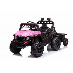 Samochodzik elektryczny RSX mini z bocznicą, różowy, napęd na tylne koła, bateria 12V, plastikowe koła, szerokie siedzenie, pilot 2,4 GHz, pojedynczy, odtwarzacz MP3 z wejściem USB / SD, oświetlenie LED