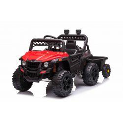 Samochodzik elektryczny RSX mini z bocznicą, czerwony, napęd na tylne koła, bateria 12V, plastikowe koła, szerokie siedzenie, pilot 2,4 GHz, pojedynczy, odtwarzacz MP3 z wejściem USB / SD, oświetlenie LED