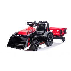 Ciągnik elektryczny FARMER z kadzią i bocznicą, czerwony, tylny napęd, akumulator 6V, plastikowe koła, szerokie siedzenie, silnik 20W, pojedynczy, sterowanie kierownicą, oświetlenie LED