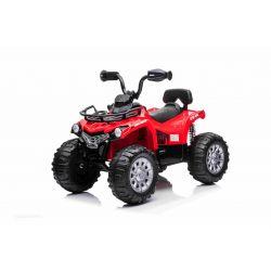 Elektryczny ATV SUPERPOWER 12V, czerwony, plastikowe koła z gumką, silnik 2 x 45W, plastikowy sedan, zawieszenie, akumulator 12V7Ah, odtwarzacz MP3
