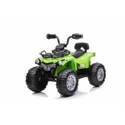 Elektryczny ATV SUPERPOWER 12V, zielony, plastikowe koła z gumowym paskiem, silnik 2 x 45W, plastikowe siedzenie, zawieszenie, akumulator 12V7Ah, odtwarzacz MP3