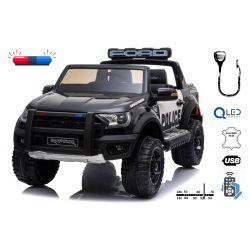 Samochód Elektryczny Ford F150 Police, 2,4 GHz, 2 X 40 W Silnik, Dwuosobowy, Kolor Czarny , USB, Karta SD, Skórzane Fotele, Koła Eva, ORYGINALNA licencja
