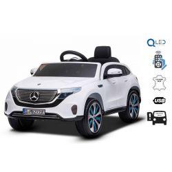 Elektrické autíčko Mercedes-Benz EQC, 12V, 2,4 GHz dialkové ovládanie, USB / SD Vstup, odpruženie, 12V/7Ah batéria, LED Svetlá mäkké EVA kolesá, 2 X MOTOR, biele, ORIGINÁL licencia