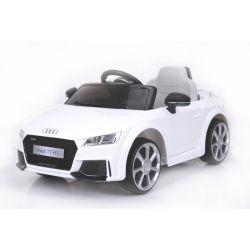 Autko Elektryczne, AUDI TT RS, Biały Kolor, Oryginalna Licencja, Zasilane Akumulatorem, Otwierane Drzwi, Skórzane Fotele, 2 x Silnik, Akumulator 12 V, Pilot Zdalnego Sterowania 2,4 Ghz, Koła EVA, Płynny Start