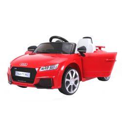Elektryczne Autko, AUDI TT RS, Czerwony Kolor, Oryginalna Licencja, Zasilane Akumulatorem, Otwierane Drzwi, Skórzane Fotele, 2 x Silnik, Akumulator 12 V, Pilot Zdalnego Sterowania 2,4 Ghz, Koła EVA, Płynny Start