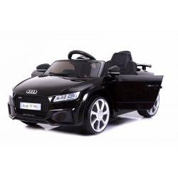 Elektryczne Autko, AUDI TT RS, Czarny Kolor, Oryginalna Licencja, Zasilane Akumulatorem, Otwierane Drzwi, Skórzane Fotele, 2 x Silnik, Akumulator 12 V, Pilot Zdalnego Sterowania 2,4 Ghz, Koła EVA, Płynny Start