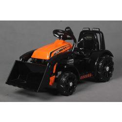 Ciągnik elektryczny FARMER z kadzią, pomarańczowy, tylny napęd, akumulator 6V, plastikowe koła, szerokie siedzenie, silnik 20W, pojedynczy, sterowanie na kierownicy, oświetlenie LED