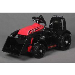 Ciągnik elektryczny FARMER z kadzią, czerwony, napęd na tylne koła, akumulator 6V, plastikowe koła, szerokie siedzenie, silnik 20W, pojedynczy, sterowanie kierownicą, oświetlenie LED