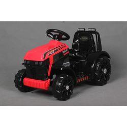 Ciągnik elektryczny FARMER, czerwony, napęd na tylne koła, akumulator 6V, plastikowe koła, szerokie siedzenie, silnik 20W, pojedynczy, sterowanie kierownicą, oświetlenie LED