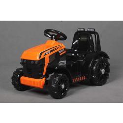 Ciągnik elektryczny FARMER, pomarańczowy, tylny napęd, akumulator 6 V, plastikowe koła, szerokie siedzenie, silnik 20 W, pojedynczy, sterowanie kierownicą, oświetlenie LED