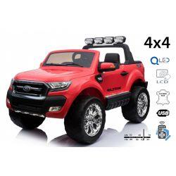 Elektryczne Autko Ford Ranger Wildtrak 4 x 4 LCD Luxury, Ekran LCD, 2,4 GHz, 2 x 12 V, 4 x SILNIK, Pilot, Dwa Fotele ze Skóry, Miękkie koła EVA, Radio FM, Bluetooth, czerwony Kolor