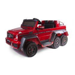 Autko Elektryczne Mercedes-Benz G63 6x6, Lakierowany Na Czerwono, Ekran LCD, 6 Kół, Podświetlane Koła, 4x4, 12 V 14 AH, Przenośne Akumulatory, Koła EVA, Tapicerowane Siedzenie, 2.4 GHz DO, Klucz, 4 X SILNIK, Podwójne Siedzenie
