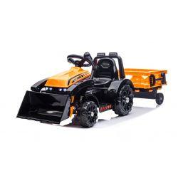 Ciągnik elektryczny FARMER z kadzią i bocznicą, pomarańczowy, tylny napęd, akumulator 6V, plastikowe koła, szerokie siedzenie, silnik 20W, pojedynczy, sterowanie kierownicą, oświetlenie LED