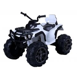 Quad Elektryczny HERO 12 V, Biały, Miękkie Koła, 2,4 GHz ZDALNE STEROWANIE, Skórzane Siedzenie, Zawieszenie, Akumulator 12 V 7 Ah
