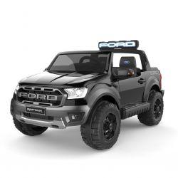 Elektryczny samochodzik Ford Raptor, czarny, koła plastikowe, zawieszenie wysokiej jakości, oświetlenie LED, plastikowe siedzenie, 2 x 12V/4 Ah, kluczyk, 4 X silnik, podwójne siedzenie, USB, karta SD, licencja ORYGINAŁ