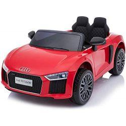 Elektryczne auto Audi R8 Małe, czerwone, oryginalna licencja, zasilany akumulatorem, otwierane drzwi, silnik 2x 35 W, akumulator 12 V, pilot 2,4 Ghz, miękkie koła EVA, zawieszenie, miękki start