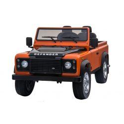 Elektryczne Autko, Land Rover Defender, Radio, USB/TF, Pilot Zdalnego Sterowania 2,4 GHz, Akumulator 2 x 12 V/7 Ah, 4 x Silnik, Koła EVA, Pomarańczowy Kolor
