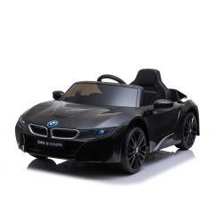 Elektryczne autko BMW i8, czarne, oryginalna licencja, skórzane siedzenie, otwierane drzwi, 2x silnik 25 W, akumulator 12 V, pilot 2,4 GHz,miękkie koła EVA, zawieszenie, miękki start