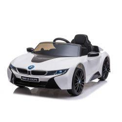 Elektryczne autko BMW i8, białe, oryginalna licencja, skórzane siedzenie, otwierane drzwi, 2x silnik 25 W, akumulator 12 V, pilot 2,4 GHz,miękkie koła EVA, zawieszenie, miękki start