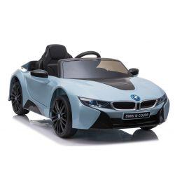 Elektryczne autko BMW i8, niebieskie, oryginalna licencja, skórzane siedzenie, otwierane drzwi, 2x silnik 25 W, akumulator 12 V, pilot 2,4 GHz,miękkie koła EVA, zawieszenie, miękki start