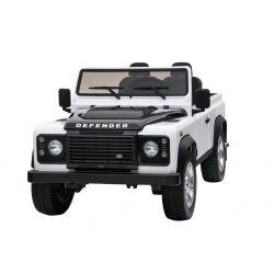 Elektryczne Autko, Land Rover Defender, Radio, USB/TF, Pilot Zdalnego Sterowania 2,4 GHz, Akumulator 2 x 12 V/7 Ah, 4 x Silnik, Koła EVA, Biały Kolor