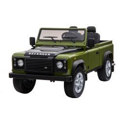 Elektryczne Autko, Land Rover Defender, Radio, USB/TF, Pilot Zdalnego Sterowania 2,4 GHz, Akumulator 2 x 12 V/7 Ah, 4 x Silnik, Koła EVA, Zielony Kolor