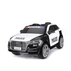 Autko Elektryczne Audi Q5 Policyjne, Tapicerowane Siedzenie, 2,4 GHz Pilot Zdalnego Sterowania, 2 X SILNIK, USB, Karta SD, Skórzane Fotele, Koła Eva, Licencja ORYGINALNA