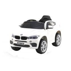 Elektryczne Autko, BMW X6M, NOWOŚĆ - Pojedyncze Siedzenie, Biały Kolor, Oryginalna Licencja, Zasilane Akumulatorem, Otwierane Drzwi, Skórzany Fotel, 2 x Silnik, Akumulator 12 V, Pilot 2,4 GHz, Koła Soft EVA, Płynny Start