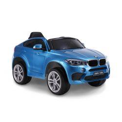 Elektryczne Autko, BMW X6M NOWOŚĆ - Pojedyncze Siedzenie, Niebieski Kolor, Oryginalna Licencja, Zasilanie Akumulatorem, Otwierane Drzwi, Skórzany Fotel, 2 x Silnik, Akumulator 12 V, Pilot 2,4 GHz, Koła Soft EVA, Płynny Start
