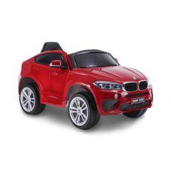 Elektryczne Autko BMW X6M NOWOŚĆ - Pojedyncze Siedzenie, Czerwony Kolor, Oryginalna Licencja, Zasilanie Akumulatorem, Otwierane Drzwi, Skórzany Fotel, 2 x Silnik, Akumulator 12 V, Pilot 2,4 Ghz, Koła Soft EVA, Płynny Start